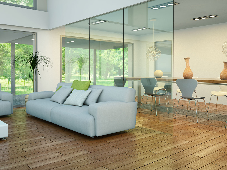 Wohnzimmer mit Glastrennwand zum Esszimmer